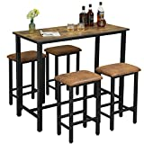 DICTAC Bar Table Set, Bar Table with 4 Bar Stools, Dining Room Table Set, Counter high Kitchen 5 Piece Bistro/Pub Table Set, Industrial Table and Chairs for Kitchen, Living Room, Party Room, Rustic