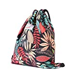 Drawstring Backpack Original Floral Leaf Tote Bags Sackpack for Shopping Yoga Gym Hiking Swimming Travel Beach 2 Sizes 20 Patterns