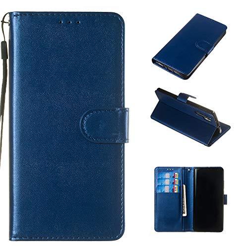 Capa carteira para Xperia XA1 Plus de couro PU flip flip carteira carteira carteira carteira compartimento para cartão de identificação fecho magnético capa à prova de choque para Sony Xperia XA1 Plus – Azul