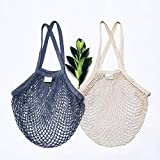 Reusable Grocery Net Bags Cotton Net Tote - Washable, Foldable, Zero Waste Farmer's Market Fruit and Vegetable Bag - String Mesh Shopping Net Bag with Long Handles Pack of 2 (Natural, Gray)