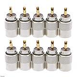 NB YULUBAIHUO 10 Piezas de Conector Conector Plugs UHF PL-259 Male Soldadura RF Plugs Fit for RG8X Coaxial Cable coaxial Damom