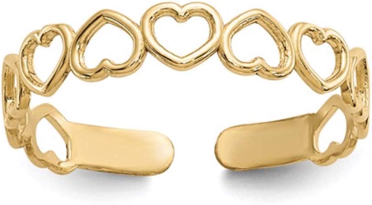 Nina's Jewelry Box 14k Yellow Gold Open Hearts Toe Ring