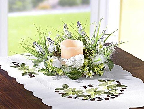 Tischkranz mit Echtwachs LED Kerze, Ø 22 cm, dekoriert mit Blumen, Gräsern, Blätter, Federn und Deko Vogel