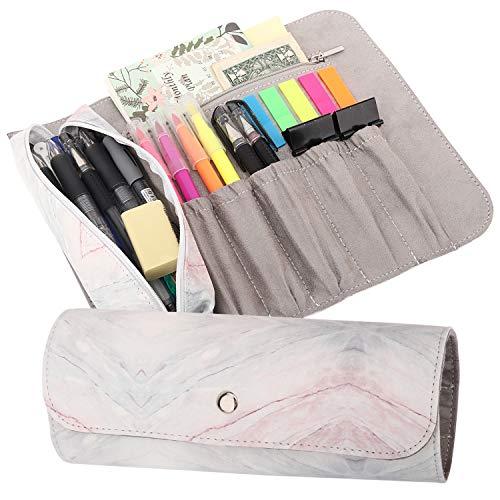 MoKo Estuche Enrollable/Bolsa de Maquillaje, Organizador de PU de Lápiz con 1 Bolsa de Lápiz Extraíble, 5 Ranuras, 1 Bolsillo con Cremallera & Hebilla Magnética para Oficina, Escuela, Hogar - Rosa