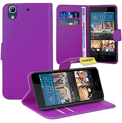 HTC Desire 728G Handy Tasche, FoneExpert® Wallet Hülle Flip Cover Hüllen Etui Ledertasche Lederhülle Premium Schutzhülle für HTC Desire 728G (Lila)