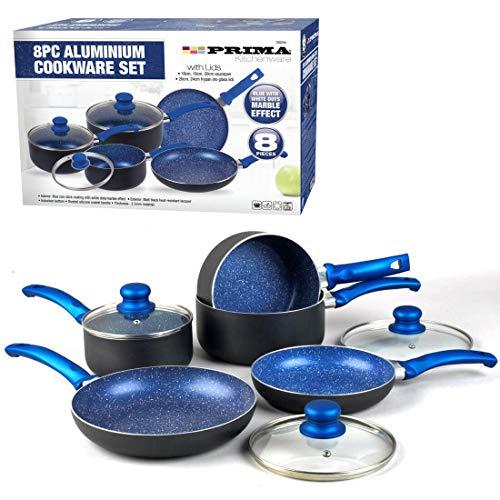 Set di pentole pentole, padella in acciaio inox antiaderente in vetro ceramica (8 pezzi set di pentole blu