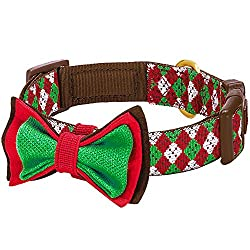 red and green dog Christmas bow tie collar