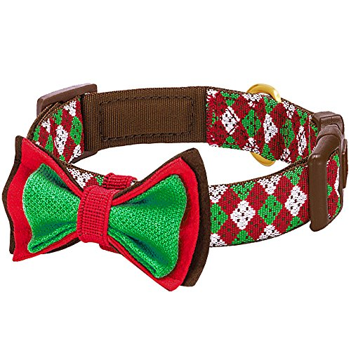 Blueberry Pet 4 Patterns Christmas Party Fair Isle Style Adjustable Dog Collar with Detachable Bow Tie, Medium, Neck 14.5