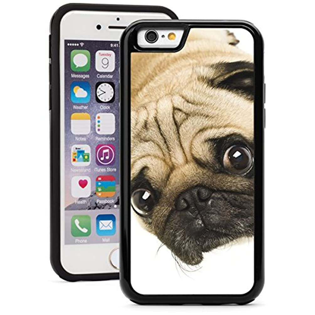 For Apple iPhone Shockproof Impact Hard Soft Case Cover Cute Close-Up Of Pug (Black for iPhone 6 Plus/6s Plus)