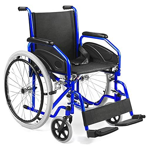 AIESI Sedia a rotelle pieghevole leggera ad autospinta per disabili ed anziani AGILA EVOLUTION # Braccioli e Poggiapiedi estraibili # Cintura di sicurezza # Gonfiatore # Garanzia Italia 24 mesi