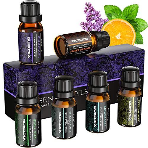 VicTsing Aceites Esenciales para Humidificador,100% Pure Natural,Perfume de Aromaterapia, 6*10ml-Naranja Dulce, Lavanda, Arbol de Té, Hierba de Limón, Eucalipto y Menta,etc. (6)