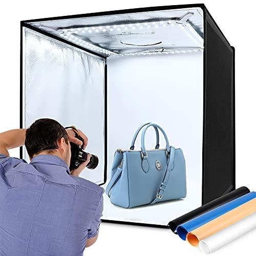 Light Box 60x60cm, 120 LED, Tenda Studio Fotografico 6000K, Box Fotografico Portatile Pieghevole,4 Sfondi (Blu, Bianco, Nero, Arancione), 3 Finestre, Velcro