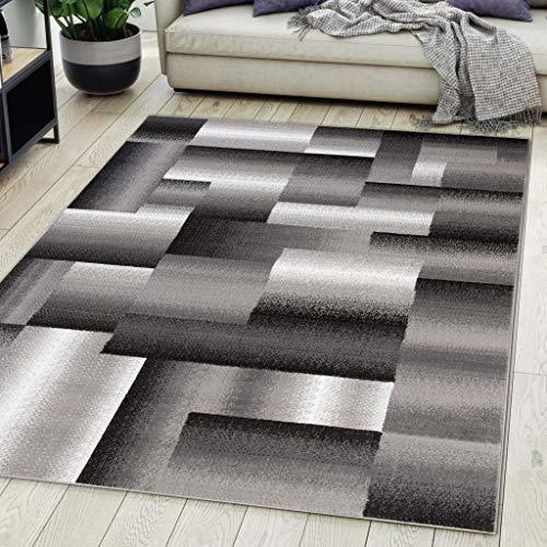 Carpeto Rugs Tapis Salon Geometrique Moderne Gris 300 x 400 cm Différentes Tailles Poils Courts