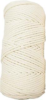 Fugift Cuerda de macramé de 4 mm de 4 hebras trenzadas de algodón para manualidades, para colgar en la pared o colgar plantas