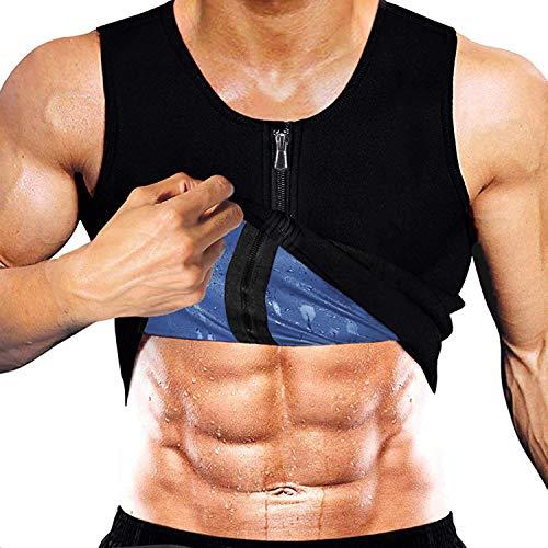 Yokald Faja Reductora Adelgazante Hombre polímero Camiseta Reductora Compresión de Sauna Chaleco para Desarrollo Muscular Pérdida de Peso con Quema Grasa Deportivo (Negro, S)