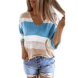 Women's Casual V-Neck Shirts Tops Striped Knit T-Shirt Tunic Short Sleeve Loose Sweater Tee Blouse