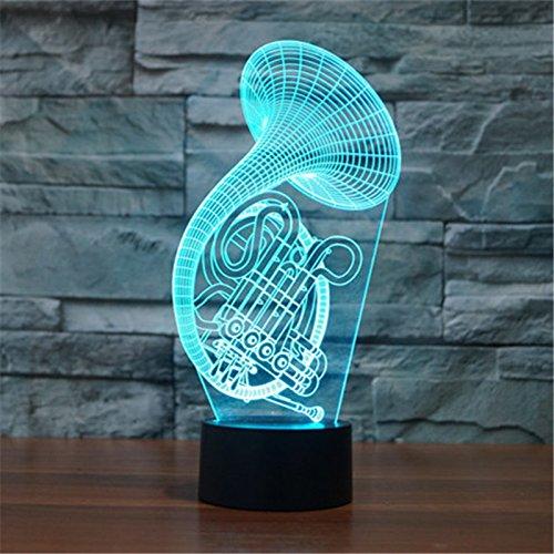 Weihnachten Valentinstag Hochzeit und Geburtstag Geschenke 3D-Tabelle Touch Lampe 7 bunte Farbe ändern Nachtlicht für Kinder und Kinder Saxophon