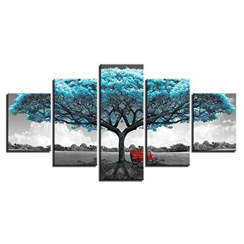 HD Print Leinwand Malerei Stick an der Wand für Wohnzimmer 5 Panel Big Blue Trees und rote Stühle Home Decor Modular Picture