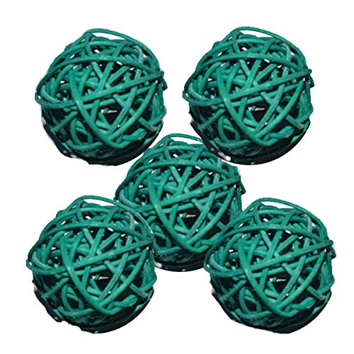 SSG Rattan Wicker Cane Dia 5cm Balls for Garden Patio,Wedding,Party Decoration, DIY for Thailand Style String Lights New (Body Color : Dark Green)