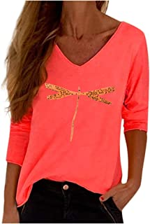 Loosebee◕‿◕ Shirts for Women,Womens Floral Shirt Blouse Ladies Long Sleeve O-Neck Dragonfly Print Tshirt