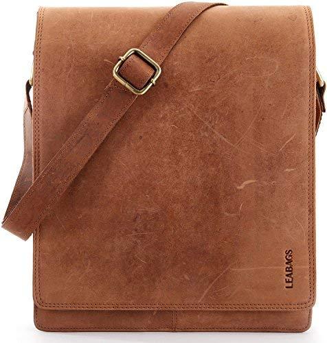 LEABAGS Messenger Bag/Umhängetasche/Schultertasche aus echtem Büffelleder - ideal für A4 & iPad -Vintage-Unisex- Büro, Studium oder Freizeit -