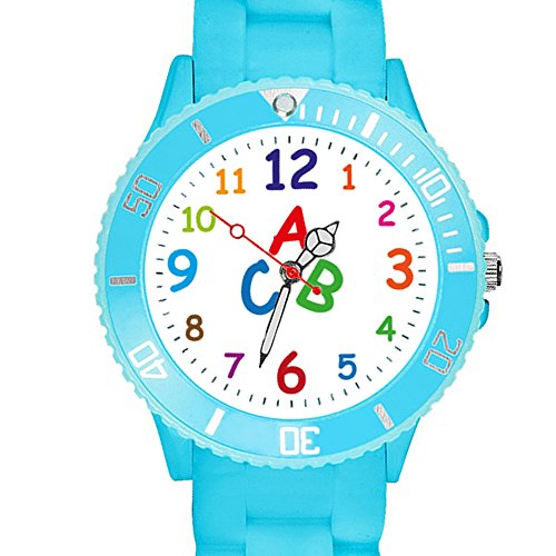 Taffstyle Kinder Armbanduhr Silikon Sportuhr Bunte Sport Uhr Kinderuhr Lernuhr Zahlen ABC Motiv Analog Türkis