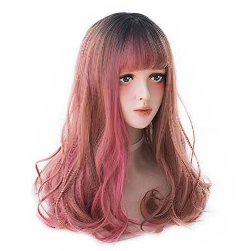 Long Wavy Red Ombre Wig - Lolita Bang Wig Highlights with Dark Root For Women, Natural Red Synthetic Hair Wig Great For Cosplay, Party and Daily
