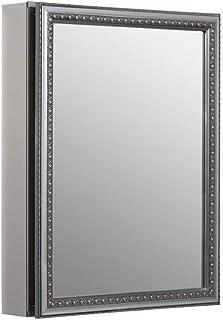 KOHLER K-CB-CLW2026SS 20 inch x 26 inch Aluminum Bathroom Medicine Cabinet with Decorative Silver Framed Mirror Door; Rece...