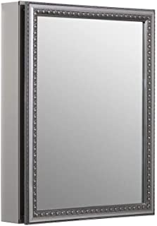 KOHLER K-CB-CLW2026SS 20 inch x 26 inch Aluminum Bathroom Medicine Cabinet with Decorative Silver Framed Mirror Door; Recess or Surface Mount