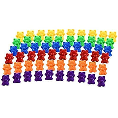 Timoo Colored Counting Bears Green /& Purple /& Blue /& Orange /& Red /& Yellow 60 PCS Color Sorting Bears