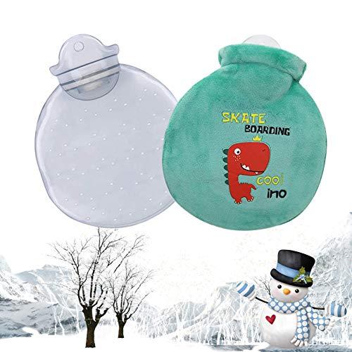 Borsa dell'acqua Calda, Bottiglia Acqua Calda con Custodia Peluche Morbida Copertura Borsa acqua calda bambini, Per facilità Crampi E Dal Dolore Mantenere Calore (Grün)