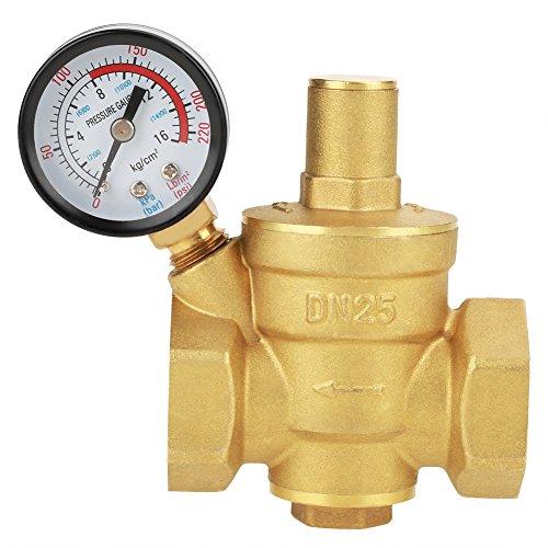FTVOGUE DN25 Druckminderventil Messing Einstellbarer Wasserdruckminderer Wasserdruckregler Reduzierer mit Manometer