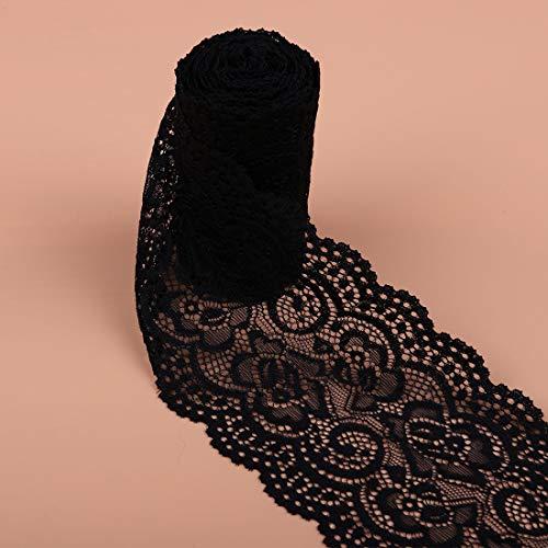 2 Yardas 10 cm de Ancho Blanco/Negro Tejido de Encaje Calado Recorte/Cinta Ropa de Costura DIY Accesorios Decorativos Suministros