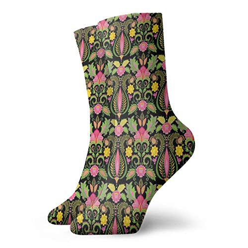 FULIYA Exotic Flowers Compression High Socks- Feathers In Victorian Persian Inspirations,Socks Women and Men-Best for Running