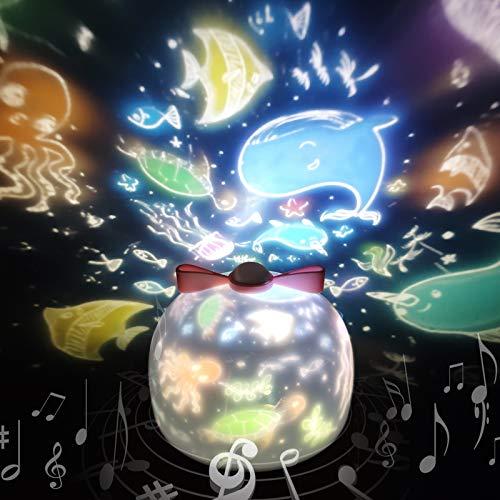 「令和アップグレード版」スタープロジェクターライト 星空ライト 音楽再生 6種類投影映画フィルム バレンタインデー ギフト 寝かしつけ用おもちゃ スターナイトライト SYOSIN 360度回転ライト 海プロジェクター プラネタリウム クリスマス プロジェクターライト ロマンチック雰囲気作り USB充電式 お子さん・彼女にプレゼント 誕生日ギフト PSE認証済(ホワイト)