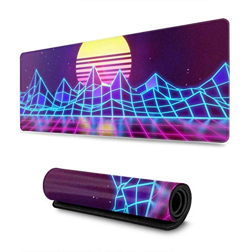 Synthwave Neon 80s Gaming Mouse Pad XL, Extended Large Mouse Mat Desk Pad, Stitched Edges Mousepad, Long Non-Slip Rubber Base Mice Pad, 31.5 X 11.8 Inch
