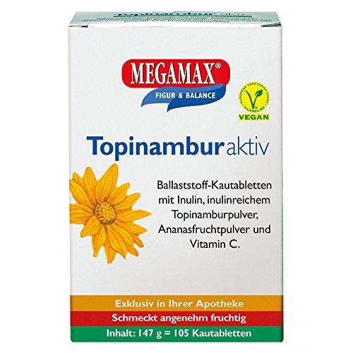 Megamax Topinambur mit Ballaststoff Inulin | Fruchtige Ballaststoff Kau-tabletten mit Inulin | inulinreichem Topinamburpulver, Ananasfruchtpulver u. Vitamin C | Vegane rein pflanzliche Ballaststoffe