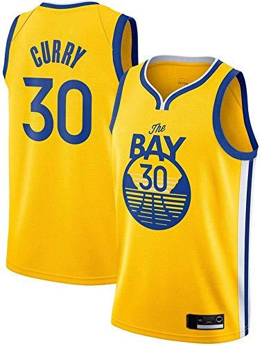 llp Jersey Men's, NBA Golden State Warriors # 30 Stephen Curry - Classic Baloncesto Sportswear Flojo Comfort Chalecos Tops, Camisetas sin Mangas Uniformes (Color : Yellow, Size : Small)