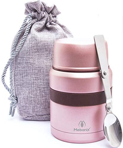Porta pranzo termico inox, doppia parete isolata, sigillata sotto vuoto, a tenuta stagna, 400 ml per mantenere il calore per 6 ore, freddo per 10 ore, cucchiaio pieghevole, scomparto di stoccaggio