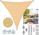 SUNDUXY Toldo Vela de Sombra Triangular Impermeable Beige Poliéster protección Rayos UV, Resistente para Patio y Actividades al Aire Kit de Montaje para Toldo,2x2x2m/6.5'x6.5'x6.5'