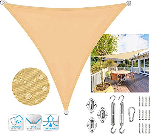 SUNDUXY Beige Triangle Sun Shade Sail Canopy Awning, Heavy Duty Waterproof 95% UV Blockage for Patio Yard Pergola (with M8 Hardware Kit),3x3x3m/9.8'x9.8'x9.8'
