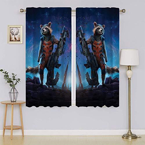 Guardians of the Galaxy Gamora Rocket Racoon - Cortinas opacas térmicas, con filtro de luz, con ahorro energético, cortinas adorables y sostenibles para dormitorio de 55' x 45'