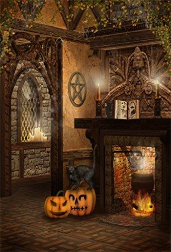 Baocicco Halloween Wizard Interior Background 8x10ft Photography Background Magic Book Grimace Pumpkin Wildcat Fireplace Liquid Medicine Horror Night Zombie Party