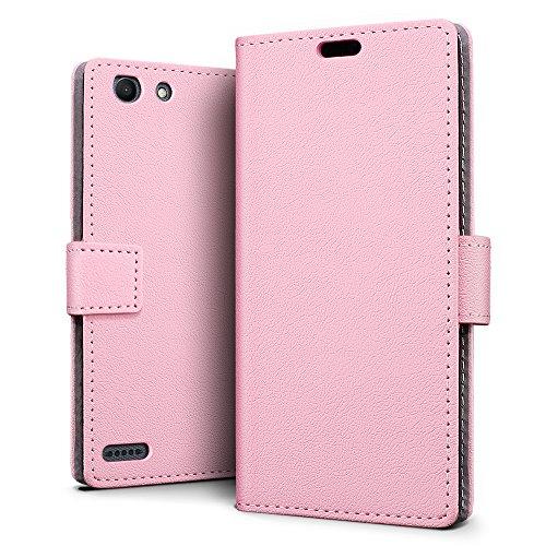 SLEO Vodafone Smart E8 Hülle, Leder Case PU Ledertasche Magnet [Vollständigen Schutz] Flip Case mit Standfunktion Kartenfächer im Bookstyle für Vodafone Smart E8 - Rosa