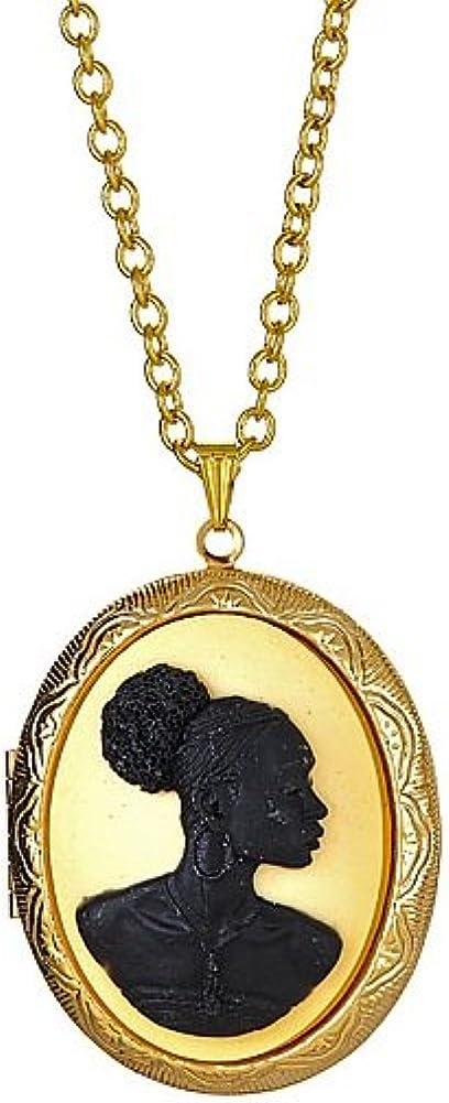 Vintage Locket Necklace Cameo Large At the price special price Retro Victori Pendant Photo