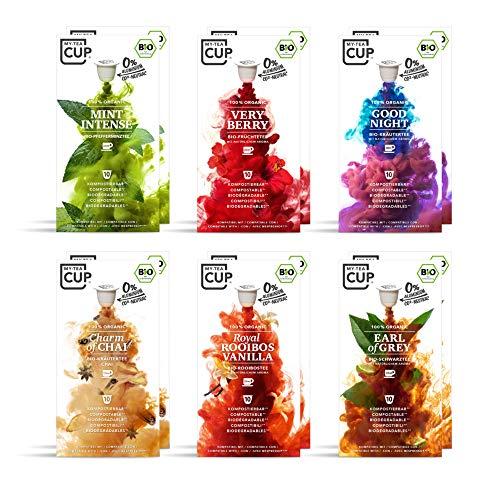 My Tea Cup – TOP- SELLER BOX: 12 x 10 KAPSELN BIO-TEE I 6 SORTEN À 20 KAPSELN BIO-TEE I 120 Kapseln für Nespresso®³-Kapselmaschinen I 100% industriell kompostierbare & nachhaltige Teekapseln – 0% Alu