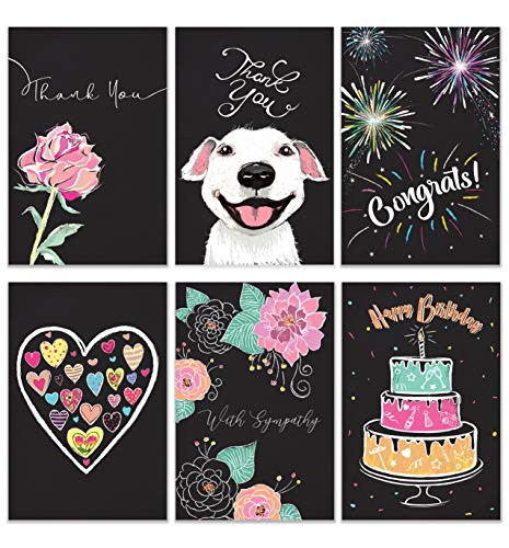 Cavepop All Occasion Greeting Cards Assortment, Includes Thank You, Birthday and Sympathy Cards with Envelopes - 4 x 6 Inches - 36 Pack (6 Chalkboard Designs)