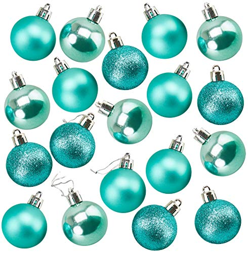 Mini Shatterproof Glitter Christmas Tree Ball Ornaments (Turquoise, 1.5 In, 48 Pack)