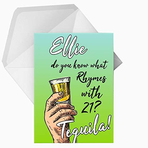 Gepersonaliseerde Tequila Grappige Alcohol Wenskaart, Elke Woord, A5