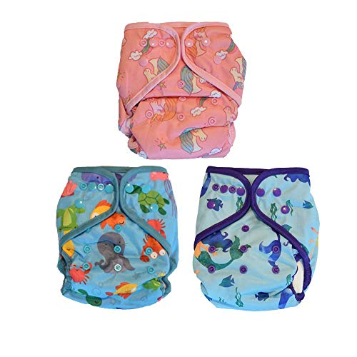Layla Mae All in One Baby Girl Cloth Diapers One Size Adjustable AIO 3 Pack